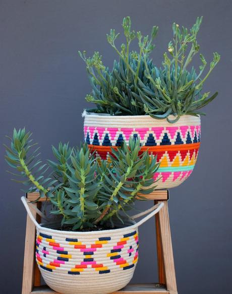 diy decorar cestos de cuerda de algodn