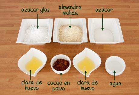 Ingredientes para hacer macarons de chocolate rellenos de chocolate blanco