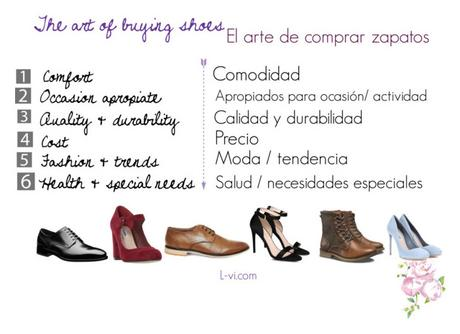 Features to keep in mind while buying shoes / Elementos a considerar al comprar zapatos.  L-vi.com