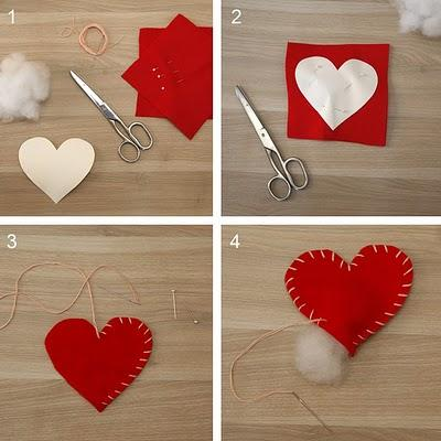 Decoracion san valentin corazones de fieltro paperblog - Como hacer adornos de san valentin ...
