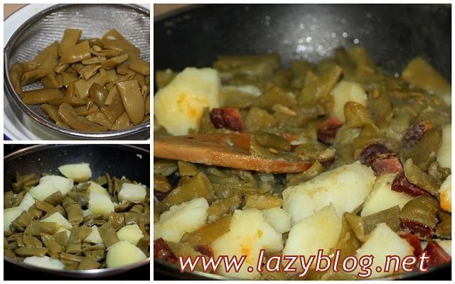 Cenas ligeras jud as verdes con patata y chorizo paperblog - Cuanto tarda en cocer una patata ...