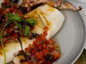 Calamar parrilla salsa olivas
