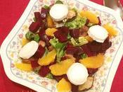 Ensalada remolacha, berenjena asada, naranja queso cabra reto cocinillas