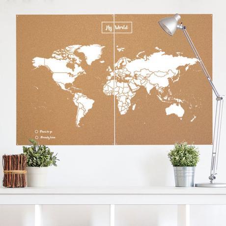 Mapamundi decora con madera y corcho paperblog - Mapa de corcho ...