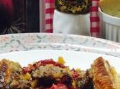 Tarta crujiente carne pimientos champis