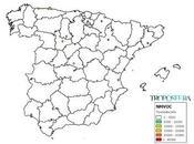 España: Mapa emisiones NMCOV (Inventario EMEP 2014)