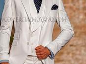 Moderno elegante traje blanco novio corte entallado (slim fit)