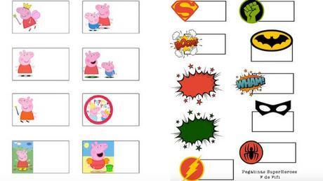 etiquetas para imprimir de peppa pig y superheroes paperblog - etiquetas para cuadernos de fortnite para imprimir