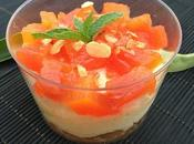 Mousse mascarpone chocolate papaya confitada guirlache almendras