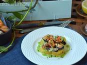Mejillones sobre llama Patata Limón