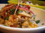 Risotto parmesano champiñones, verduras tomates secos