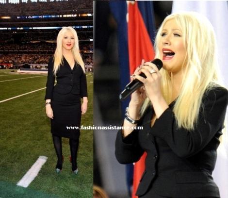 Christina Aguilera elige un look sobrio para cantar el Himno Nacional en la Super Bowl