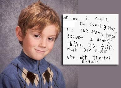 Niño de 7 años dona 140 dólares a Organización gay