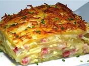 Patatas gratén cebolla, bacon queso Manchego