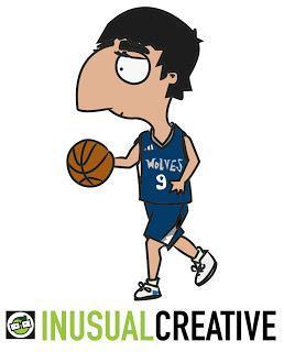 Caricatura de Ricky Rubio, un jugador español de balonces...