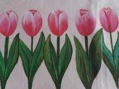 Mantel tulipanes pintado tela