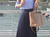 Falda plisada camisa rayas