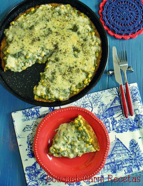 Pizza de harina de quinua y calabaza