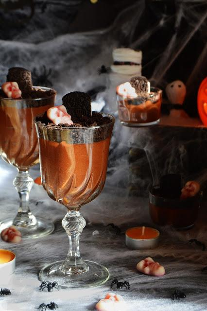 Mousse de chocolate para Halloween