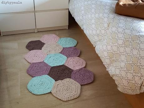 Tutorial alfombra trapillo con muestras de hex gonos multiforma paperblog - Alfombra de trapillo cuadrada ...