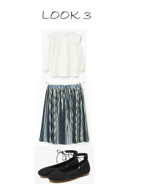 Clones de moda infantil: Falda para niña midi plisada y brillante
