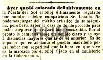 El reloj de la puerta del sol en tiempo real madrid 1866 for El reloj de la puerta del sol
