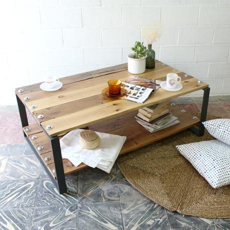 Mesa de madera natural para el sal n paperblog - Mesa salon madera ...