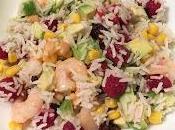 Ensalada arroz gambas frambuesa