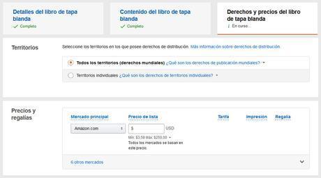Cómo publicar un libro de tapa blanda con KDP de Amazon - Derechos y precios