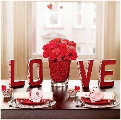 como decorar una mesa de san valentin para la comida