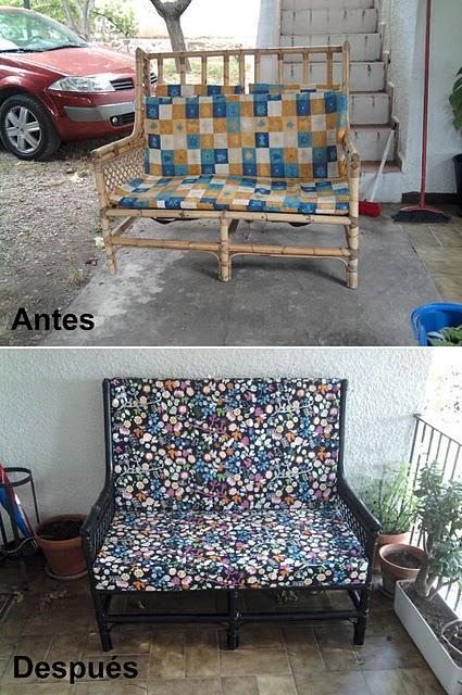 Antes y después del sofá de Covi