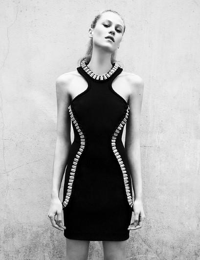 Metal-tube halterneck dress, £350