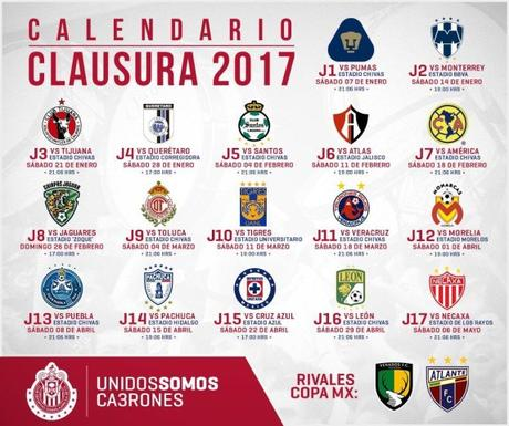 Fechas de los partidos del Chivas para el Clausura 2017 - Paperblog