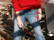 jeans bordados jersey rojo ZAFUL