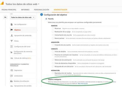 Objetivos inteligentes en Google Analytics