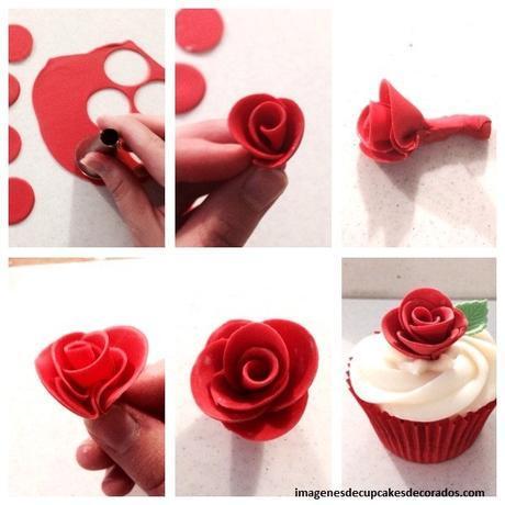 flores de fondant para cupcakes rosas