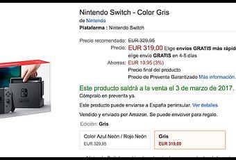amazon rebaja nintendo switch gris a 319 euros seguir bajando paperblog. Black Bedroom Furniture Sets. Home Design Ideas