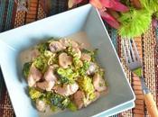 Pollo crema champiñones brócoli.