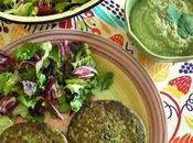 Hamburguesas arroz integral acelga aderezo cilantro