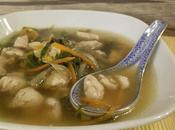 Sopa miso pollo, wakame verduras