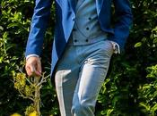 Chaqué novio azul combinado gales (slim fit)