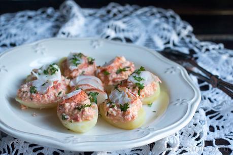 Ensalada de patata y bogavante.