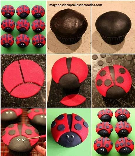 como decorar cupcakes con masa elastica cubrir