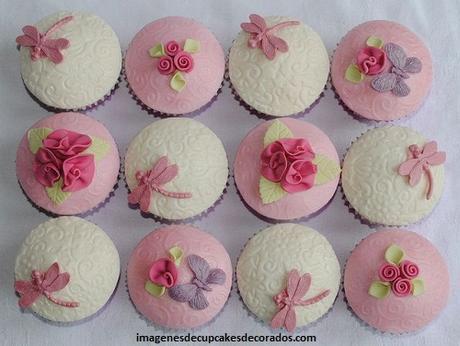 como decorar cupcakes con masa elastica flores