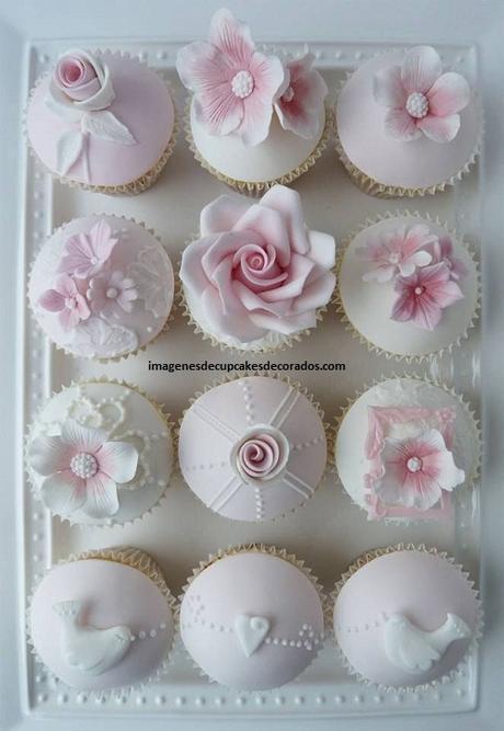 como decorar cupcakes con masa elastica elegante
