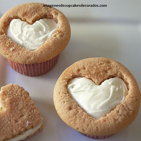 cupcakes decorados de amor rellenos