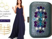 clutch joya para vestido largo azul marino