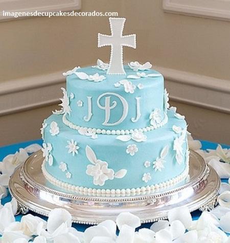 pasteles decorados para bautizo niño
