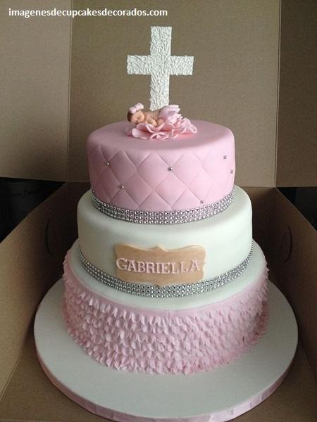 pasteles decorados para bautizo niña