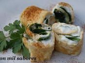 Rollitos tortilla espinacas queso
